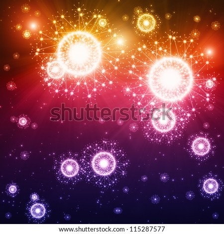Abstract celebration background - bright colorful lights, flashes, fireworks - stock photo