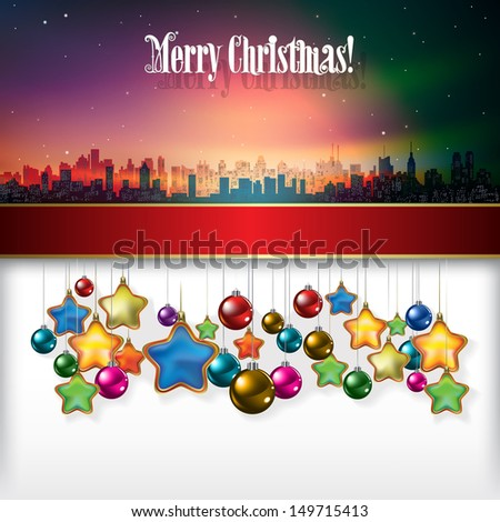 Abstract celebration background with Christmas decorations and silhouette of New York - stock photo