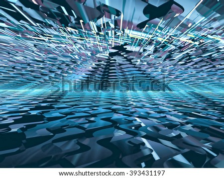 Abstract chaos background - computer-generated blue image. Fractal background chaotic lines forming the way to the horizon. For covers, posters, web-design - stock photo