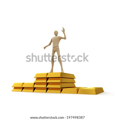 Abstract character on the top of golden bar stack 3d rendered isolated on white background - stock photo