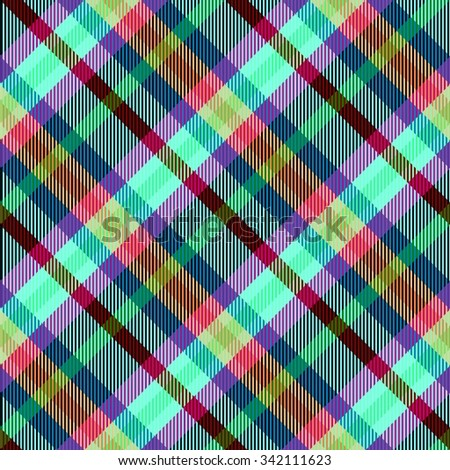 Abstract checked modern seamless oblique pattern with textile texture - digitally rendered design - stock photo