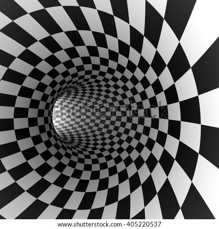 Abstract checkered round tunnel 3D render background. - stock photo
