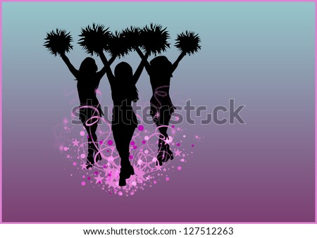Abstract cheerleader girl poster or flyer background with space - stock photo