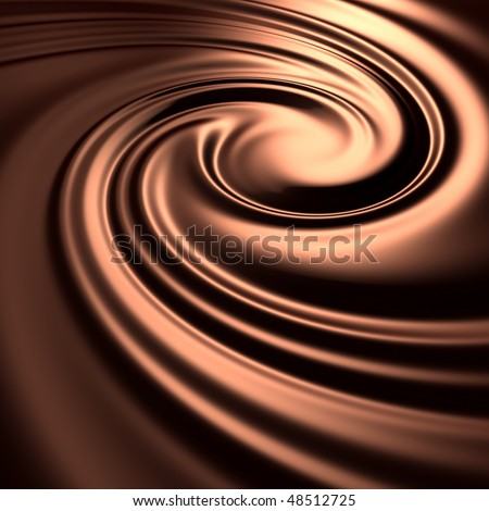 Abstract chocolate swirl background. Choco liquid melt mass. (3d remarkable abstract backgrounds and objects series) - stock photo