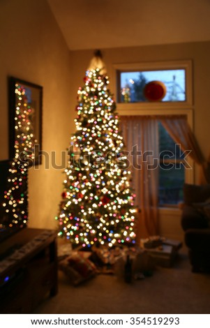 abstract christmas background with defocused lights - stock photo