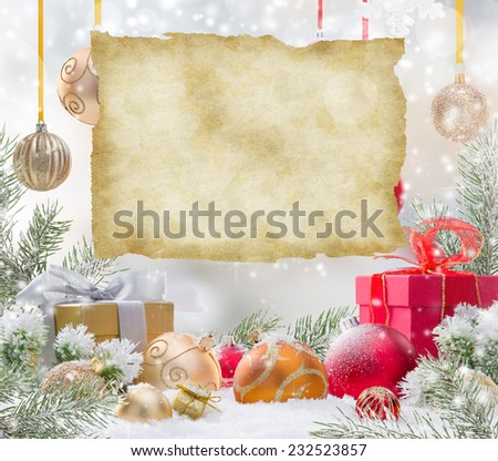 Abstract Christmas background with old paper - stock photo