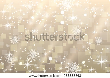 Abstract Christmas background with snowflakes and shiny stars in white and gold color. New year lights, starry sky  - stock photo