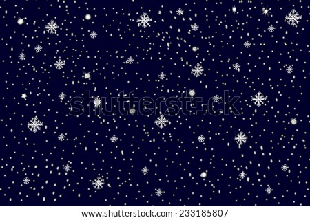 Abstract Christmas background with snowflakes - flakes of snow in the sky - stock photo