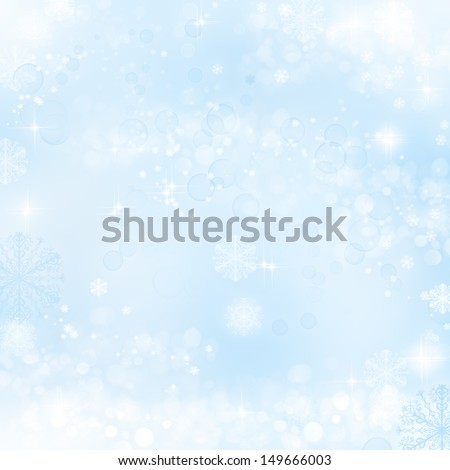 Abstract christmas background with snowflakes in winter - stock photo