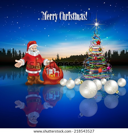 Abstract Christmas greeting with Santa Claus decorations and forest lake - stock photo