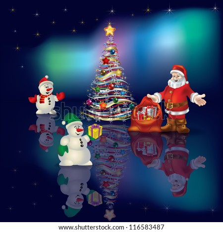 Abstract Christmas greeting with Santa Claus on aurora background - stock photo