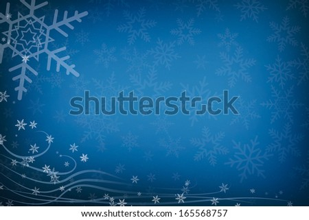 Abstract Christmas Snowflakes and Swirls Blue Background with Copy Space - stock photo