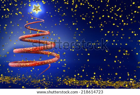 abstract christmas tree in rain of golden stars - stock photo