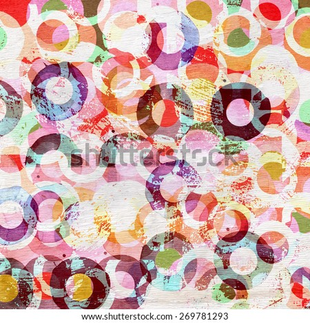 abstract circles design on wood grain texture - stock photo