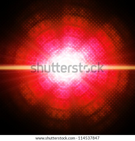 Abstract circles on red background - stock photo