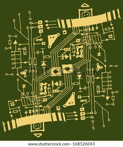 abstract Circuit Board illustration - stock photo