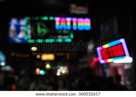 Abstract circular bokeh background of nightlife in pattaya city thailand - stock photo
