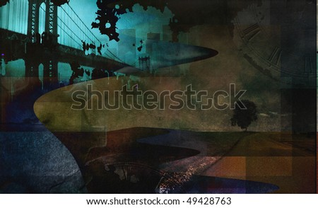 Abstract city and grunge landscape with tree - stock photo