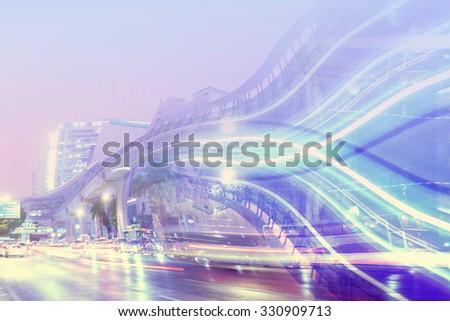 Abstract city blur night light ,Traffic and Bridge   at bangkok city center.  - stock photo