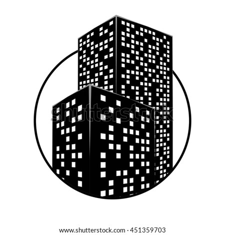 Abstract City Building. Graphical Black and White Silhouette. Raster 3d Illustration - stock photo