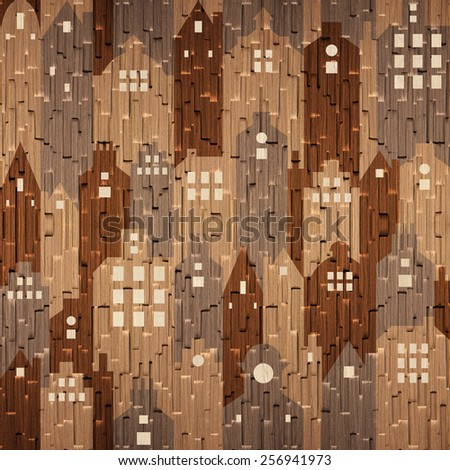 Abstract city buildings - seamless background - different colors - stock photo
