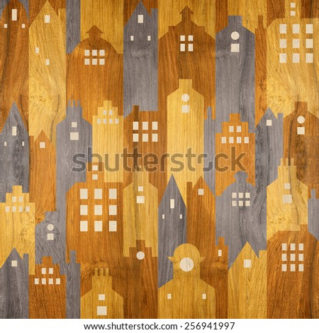 Abstract city buildings - seamless background - wood texture - stock photo