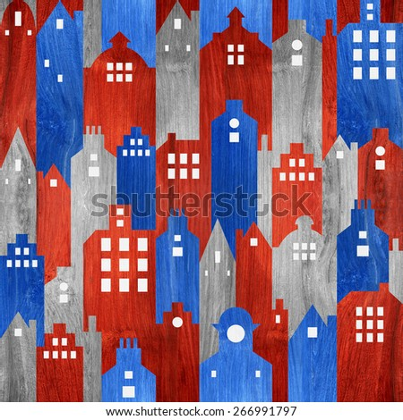 Abstract city buildings - seamless pattern - USA Colors - wood texture - stock photo