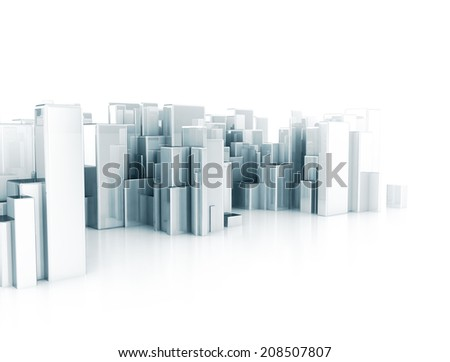 Abstract city 3d cubes  - stock photo