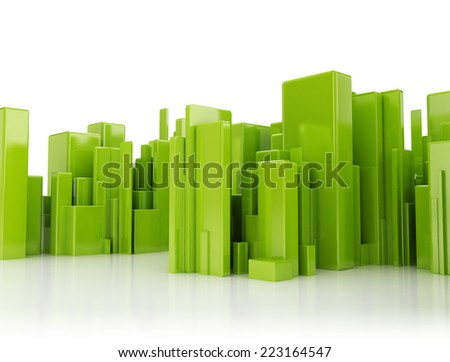 Abstract city green 3d cubes on white background - stock photo