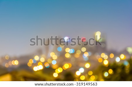 Abstract city nigth light blur bokeh. Defocused background. - stock photo