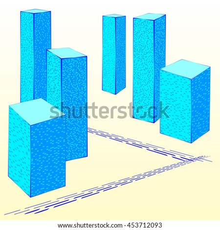 Abstract City Street. Graphical Blue Silhouette. Poster in a Flat Style. Raster 3d Illustration - stock photo
