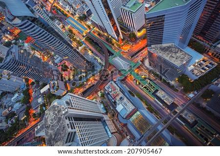 Abstract cityscape, center in Bangkok, Thailand - stock photo