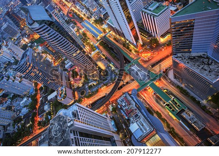 Abstract cityscape, road in center of Bangkok - stock photo