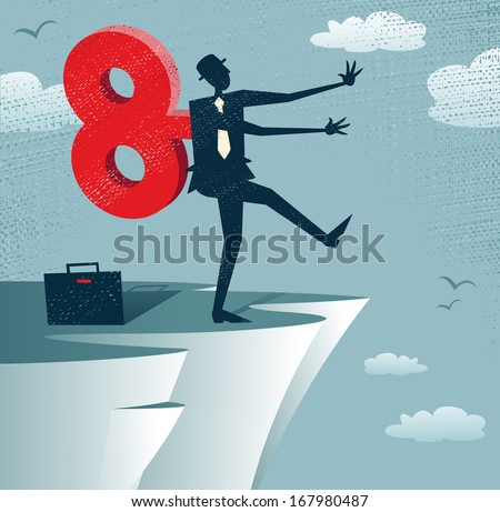 Abstract Clockwork Businessman walks off a cliff.  Great illustration of Retro styled Businessman walks off a cliff because he is wound up like a toy robot with a huge clockwork key.  - stock photo