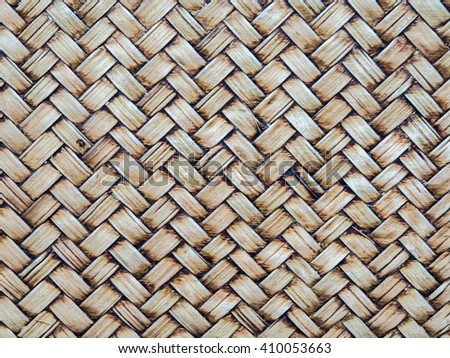 Abstract close up Old brown woven wood bamboo texture background. - stock photo
