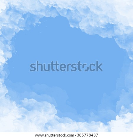 abstract clouds frame - white and blue watercolor background - stock photo