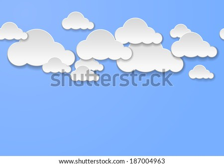 Abstract clouds on light blue background. Cloud computing concept - stock photo