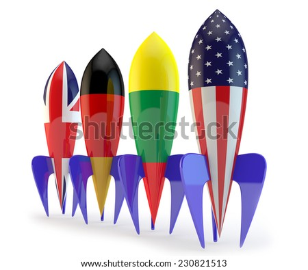 abstract coalition, rockets with flags of the Lithuania, the USA, Germany, England - stock photo