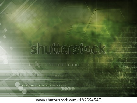 Abstract collage with grunge wall and tech elements - stock photo