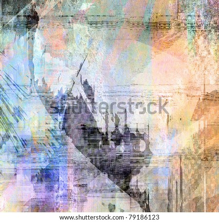 Abstract color background, art grunge illustration, graffiti - stock photo
