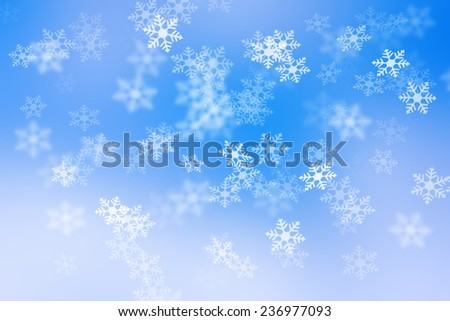 abstract color background, blurred white cloud and blue sky with snow flake falling. - stock photo