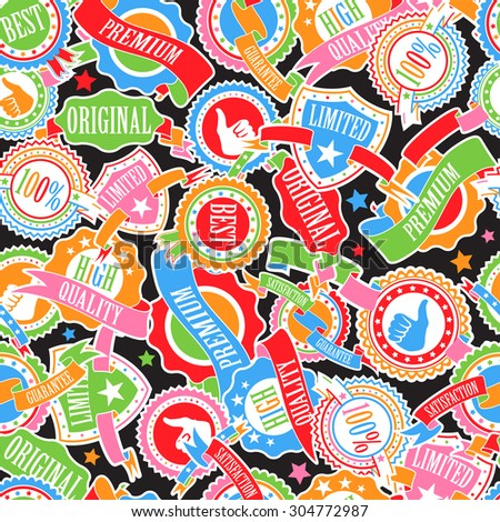Abstract Color Badges and Ribbons Seamless Pattern - stock photo