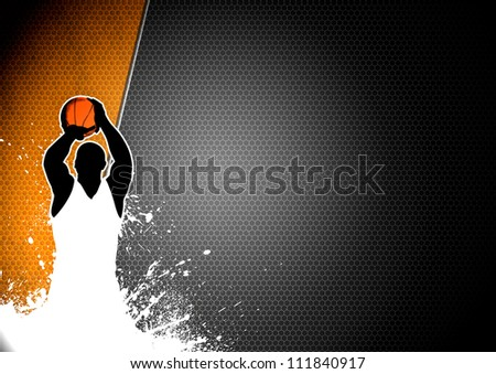 Abstract color basketball man and ball poster background withs space - stock photo