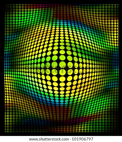 abstract color dots ia a black background - stock photo