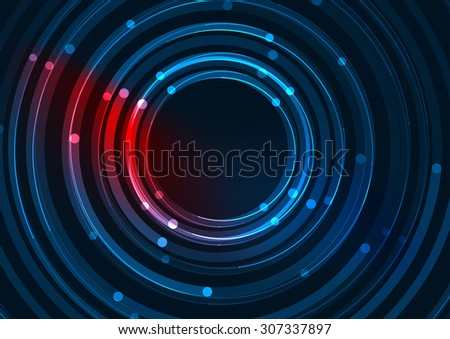 Abstract color glowing lines in dark space with stars and light effects. Futuristic circle background with copyspace for your message - stock photo