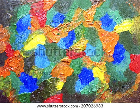Abstract color painting. Oil on canvas. Hand-drawn illustration. - stock photo