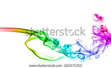 Abstract color smoke on white background. - stock photo