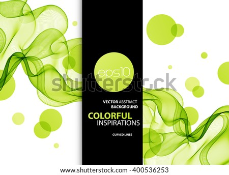 Abstract color wave design element. Green Curved lines and circle. Spring or summer banner - stock photo