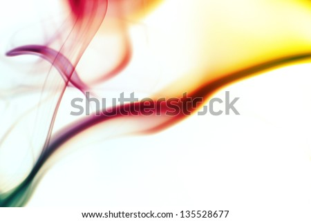 abstract colored smoke curves - stock photo