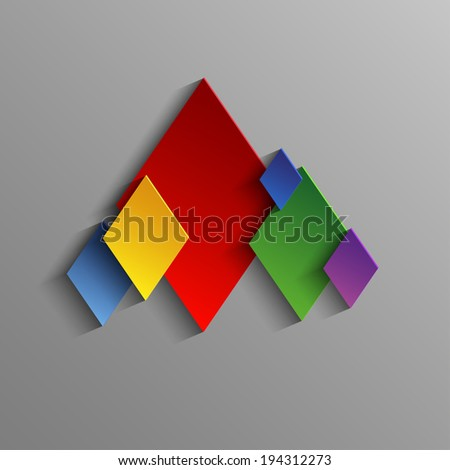 Abstract colored Suits of the cards Diamonds - stock photo